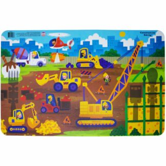 Illustrated construction scene placemat