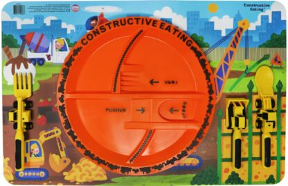 round orange plate on illustrated construction scene placemat with yellow construction utensils next to plate