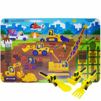 yellow construction utensils on an illustrated construction scene placemat