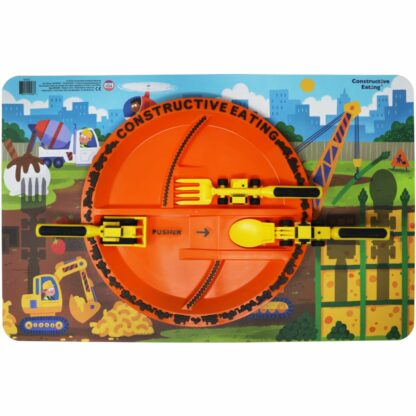 round orange plate with yellow construction utensils on a illustrated construction scene placemat