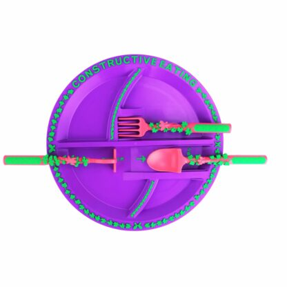 round purple plate with pink and green garden utensils