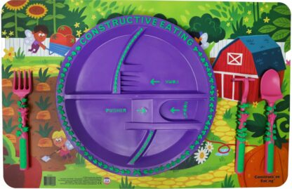 round purple plate on an illustrated garden fairy scene placemat
