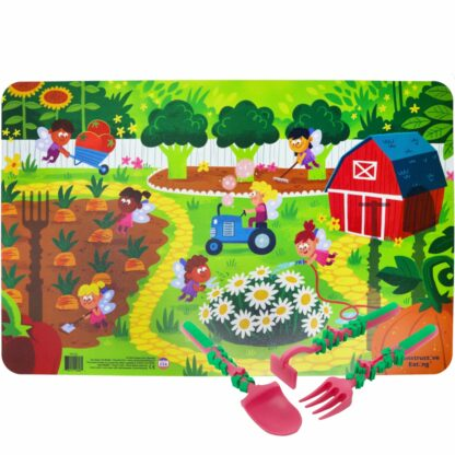 pink and green garden utensils on an illustrated garden fairy scene placemat