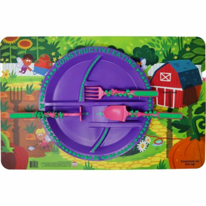 round purple plate with pink and green garden utensils on an illustrated garden fairy scene placemat